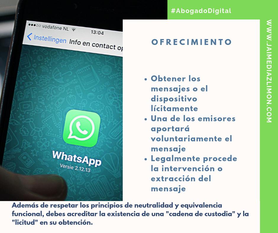 Ofrecimiento Whatsapp Evidencia Digital