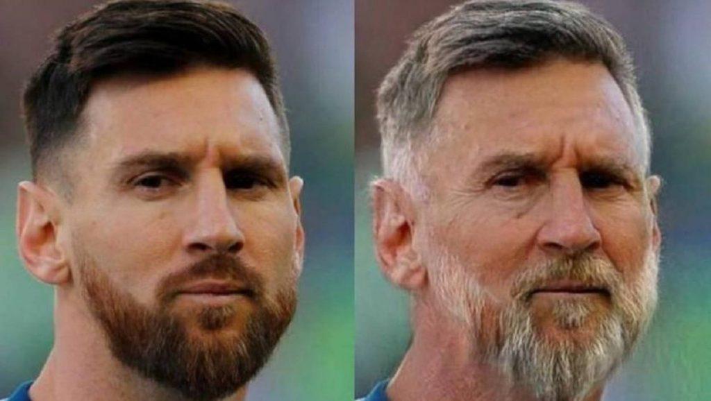 Imagen del jugador Leo Messi tras la aplicación del filtro de envejecimiento de FaceApp